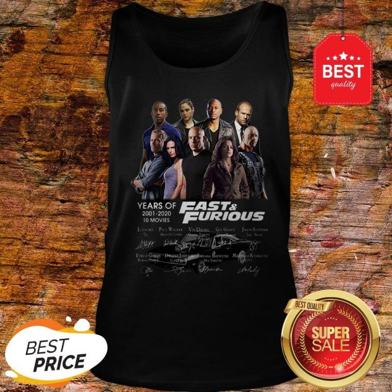 Official Fast & Furious Years Of 2001 2020 10 Movies Signatures Tank Top