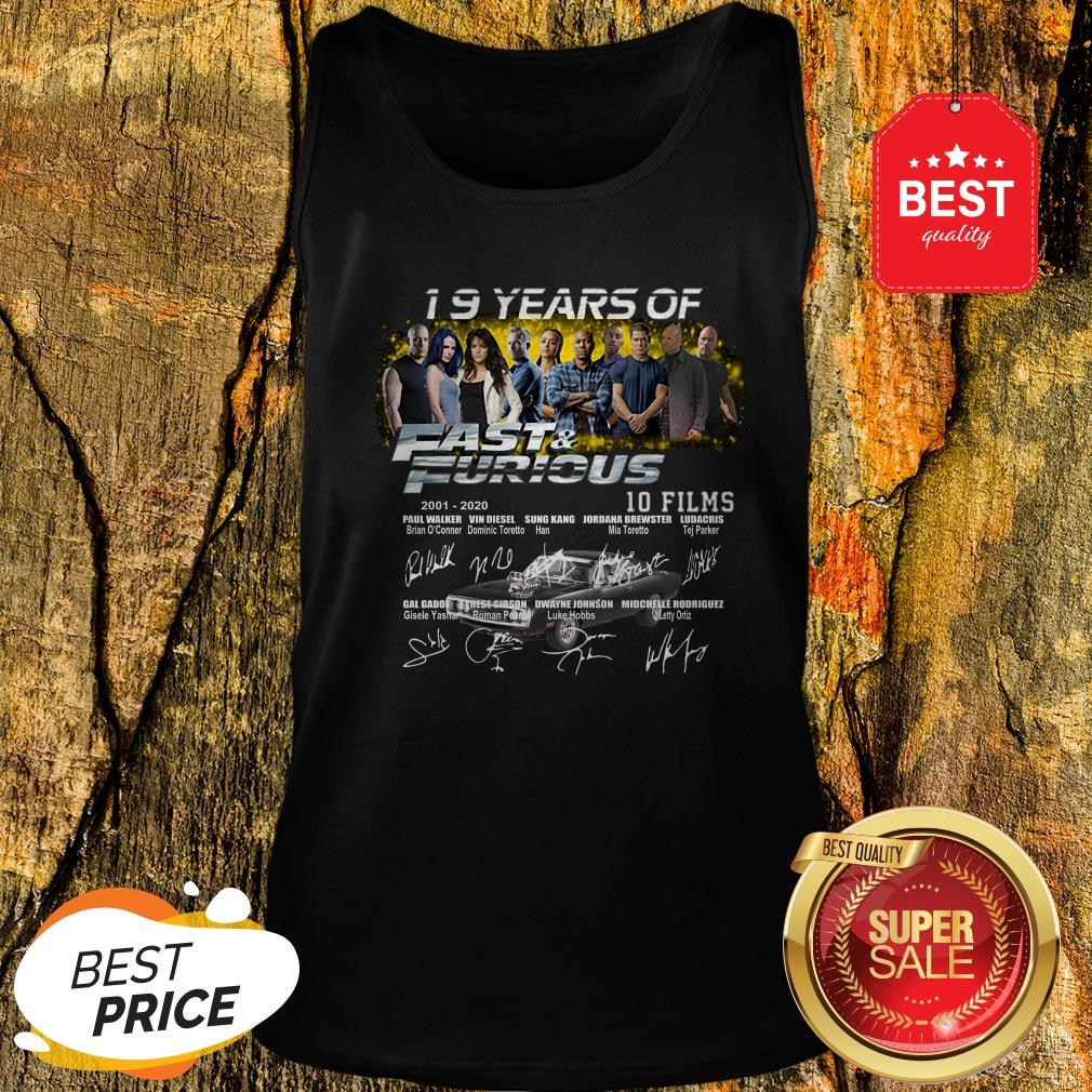 Official 19 Years Of 2001 2020 Fast And Furious 10 Films Signatures Tank Top