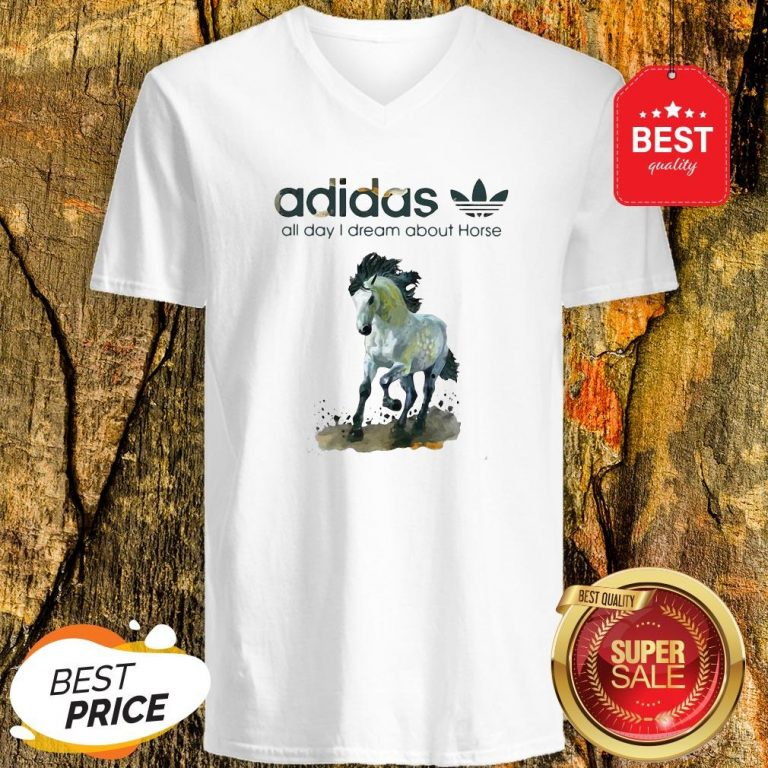 Official Addicted Adidas All Day I Dream About Horse V-Neck