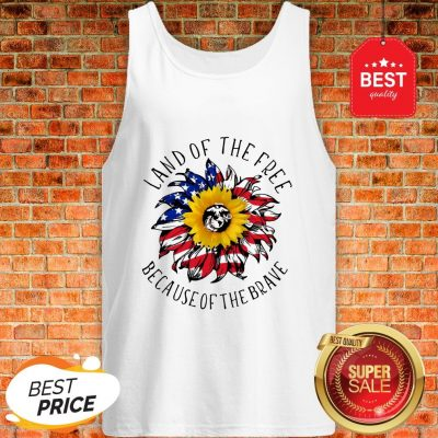 Sunflower American Land Of The Free Because Of The Brave Tank Top