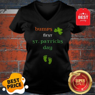 Baby's First St Patricks Day Pregnancy Announcement Tee V-Neck