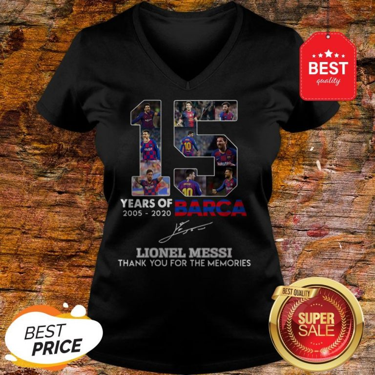 15 Years Of Barcelona Signature Lionel Messi Thank For Memories V-neck