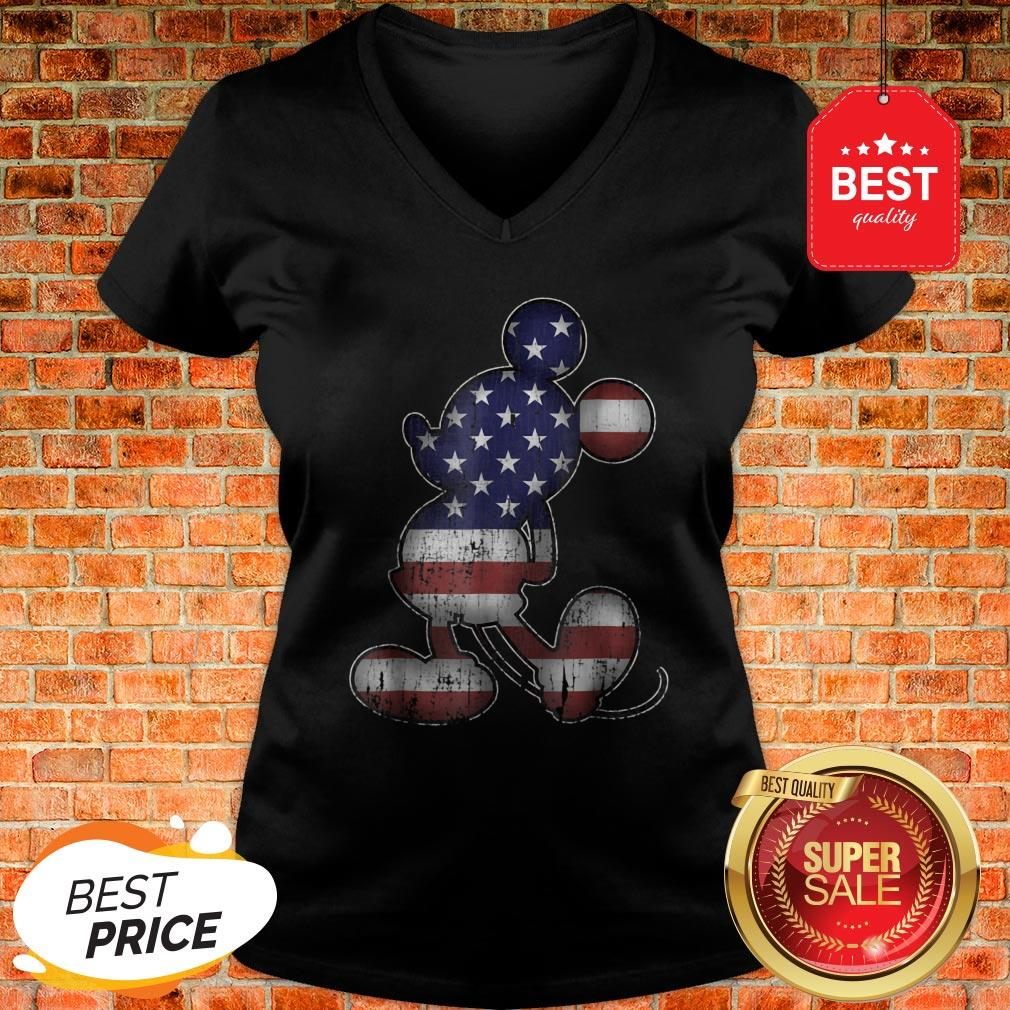 Official Disney Americana 4th Of July Mickey Mouse V-Neck
