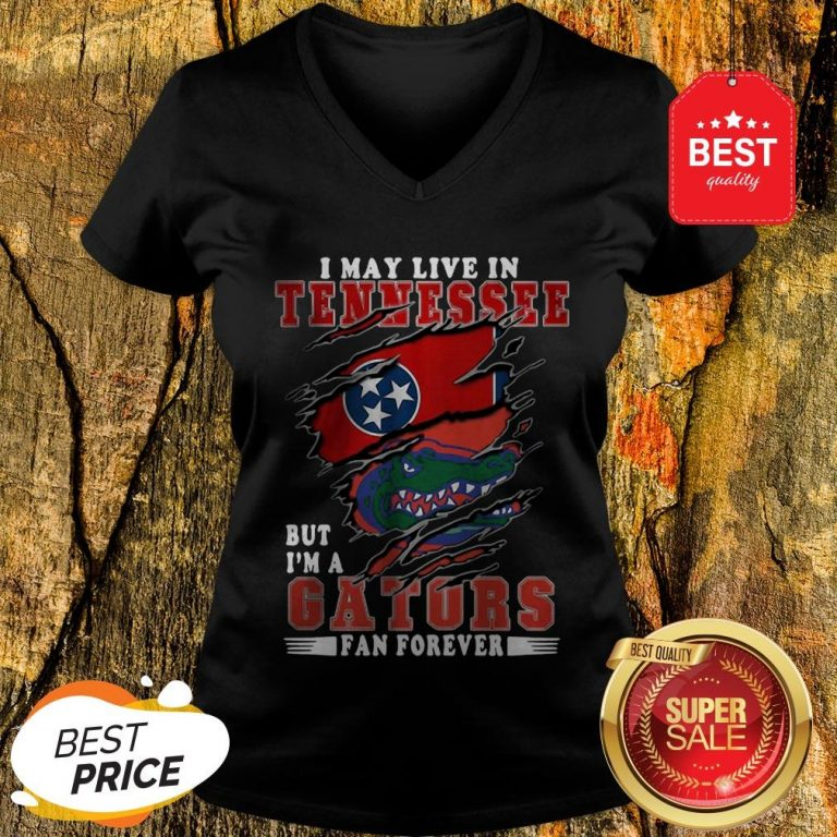 I May Live In Tennessee But I'm A Gators Fan Forever V-Neck