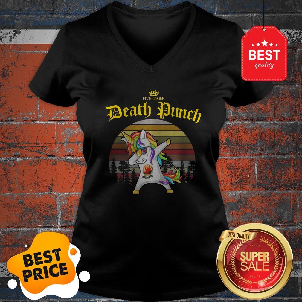 Official Dabbing Unicorn Five Finger Death Punch Vintage V-Neck