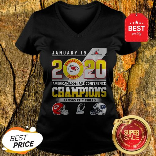 January 19 2020 American Football Conference Champions Kansas City Chiefs V-Neck