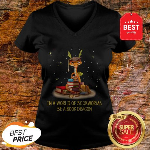 Official In A World Of Bookworms Be A Book Dragon V-Neck