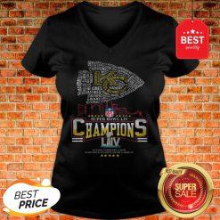 Official All Name Players Kansas City Chiefs Super Bowl LIV Champions V-Neck