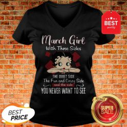 Official Betty Boop March Girl With Three Sides The Quiet Side The Fun V-Neck