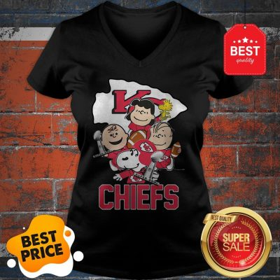 Official Snoopy Kansas City Chiefs Champion Peanuts Characters V-Neck