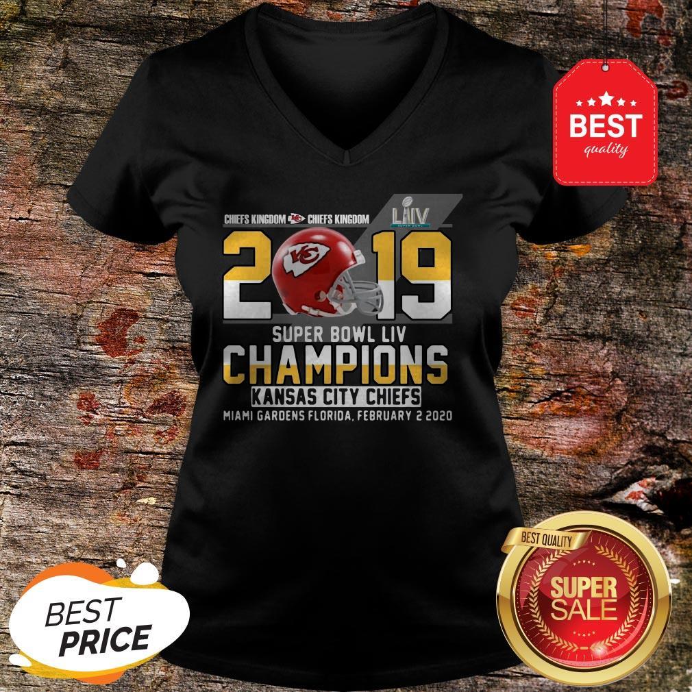 Official Chiefs Kingdom 2019 Super Bowl Liv Champions Kansas City Chiefs V-Neck