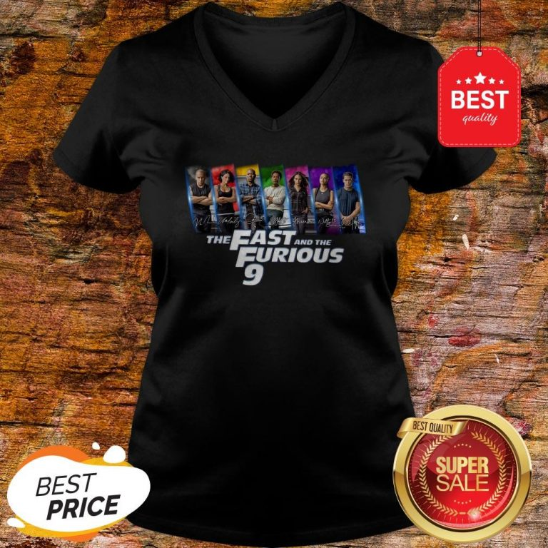 Official All Character Signatures The Fast And The Furious 9 V-Neck