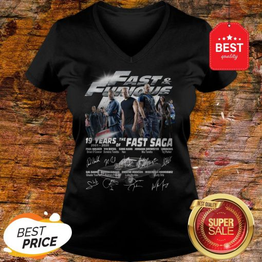 Official Fast & Furious 19 Years Of The Fast Saga 2001 2020 Signatures V-Neck