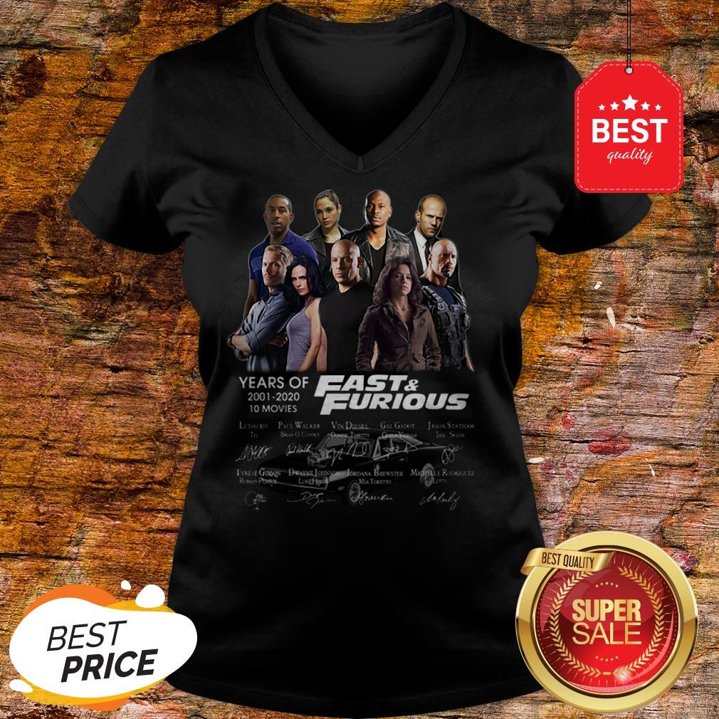 Official Fast & Furious Years Of 2001 2020 10 Movies Signatures V-Neck