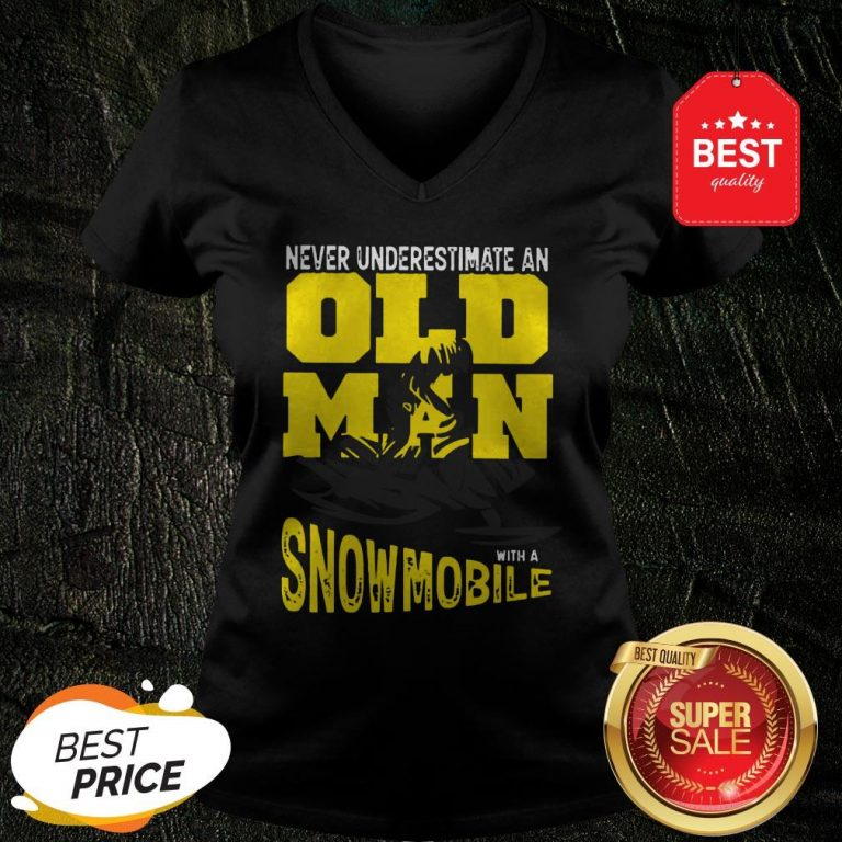 Official Never Underestimate An Old Man With A Snowmobile V-Neck