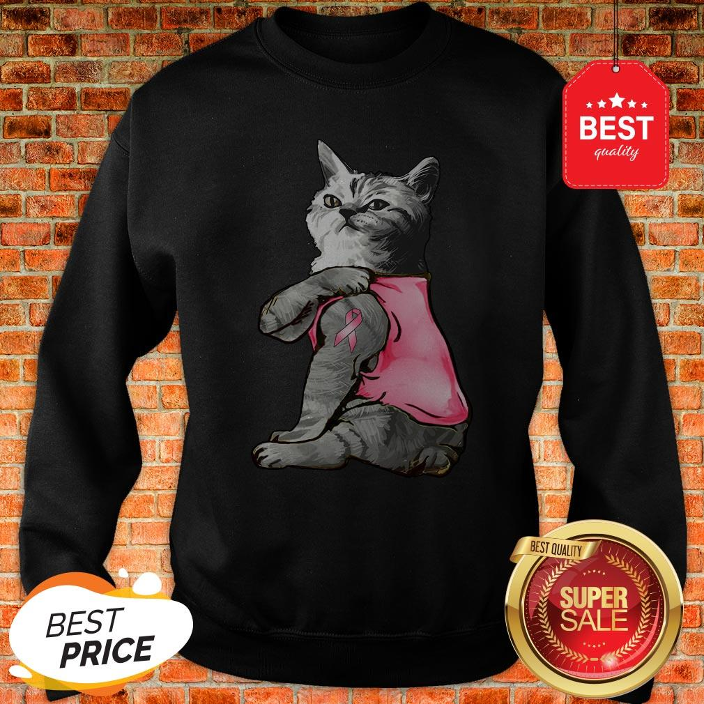 Strong Cat Paws For The Cure Breast Cancer Awareness Sweatshirt