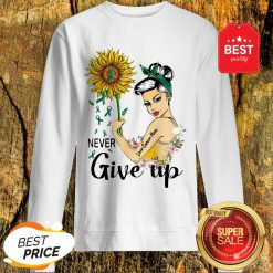 Never Give Up Liver Cancer Mom Cancer Awareness Girl Sunflower Sweatshirt