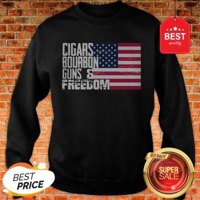 Official Cigars Bourbon Guns Freedom American Flag Sweatshirt