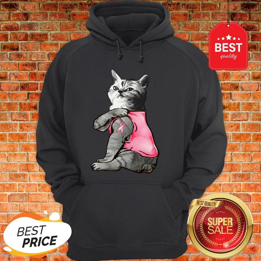 Strong Cat Paws For The Cure Breast Cancer Awareness Hoodie