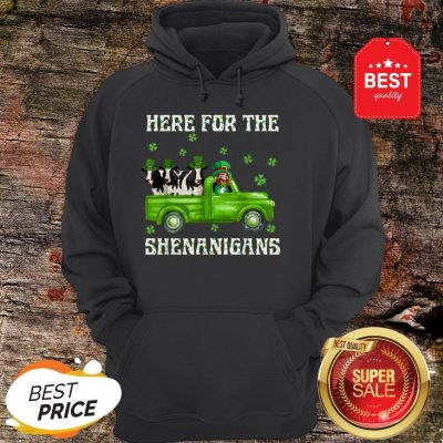 Here For The Shenanigans Leprechaun Cow St Patrick's Day Hoodie