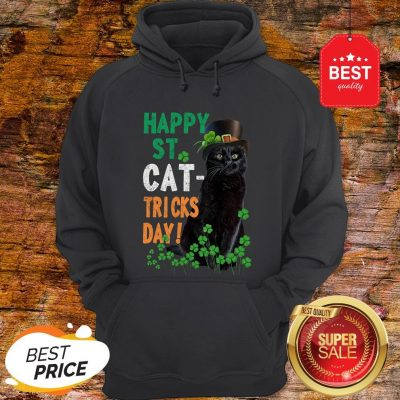 Official Happy St Cat-Tricks Day St. Patrick Day Black Cat Hoodie