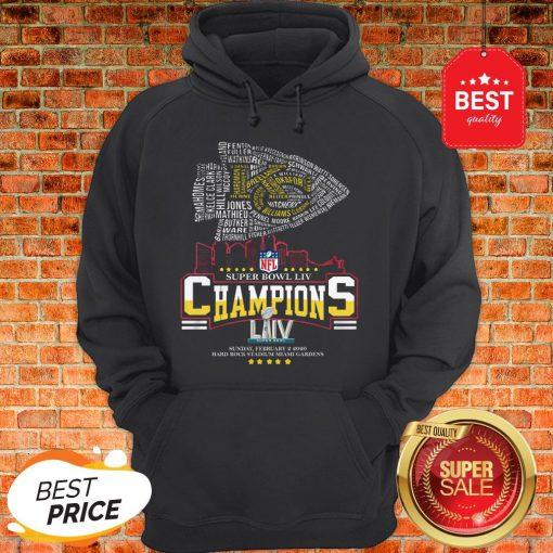 Official All Name Players Kansas City Chiefs Super Bowl LIV Champions Hoodie