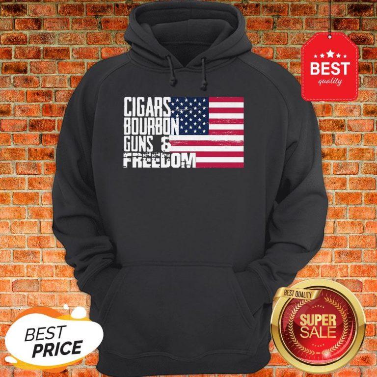 Official Cigars Bourbon Guns Freedom American Flag Hoodie