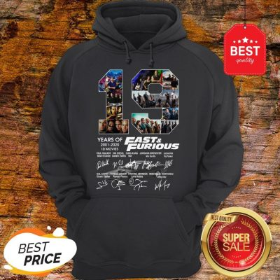 Official 19 Years Of Fast & Furious 2001 2020 10 Movies Signatures Hoodie