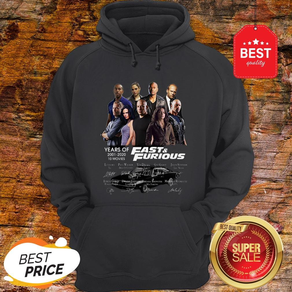Official Fast & Furious Years Of 2001 2020 10 Movies Signatures Hoodie