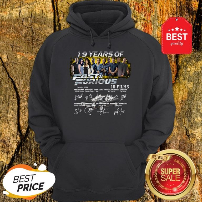 Official 19 Years Of 2001 2020 Fast And Furious 10 Films Signatures Hoodie