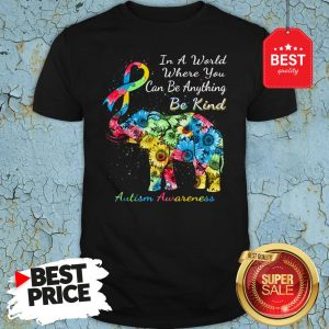 Autism Awareness Sunflower Elephant In A World Where You Can Be Anything Be Kind Shirt