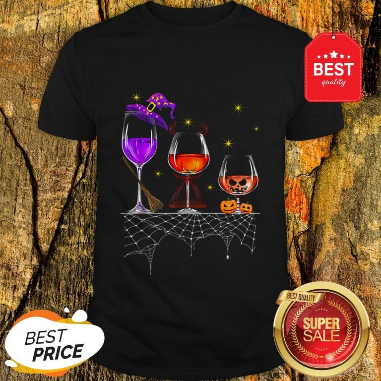 Funny Wine Glass Of Witchcraft Halloween Vintage Shirt