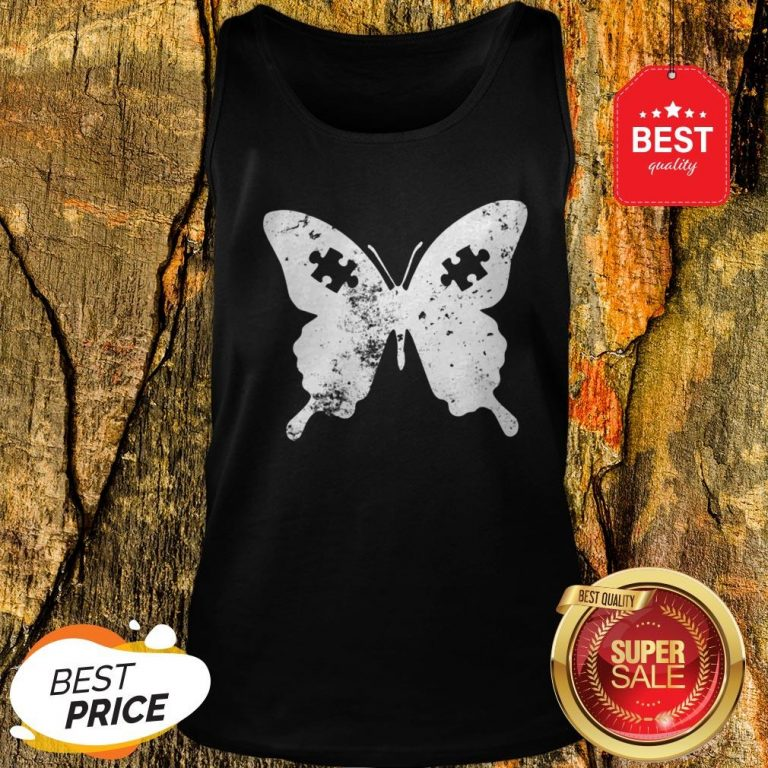 Butterflies Autism Awareness Puzzle Pieces Gift Ideas Mom Tank Top
