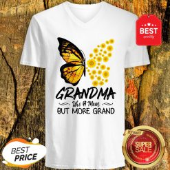 Butterfly And Sunflower Grandma Like A Mom But More Grand V-Neck