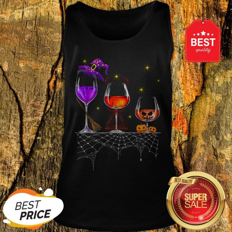 Funny Wine Glass Of Witchcraft Halloween Vintage Tank Top