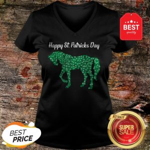 Official Horse Shamrock Horse Riding Lover St Patricks Day V-Neck