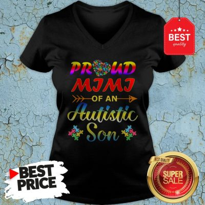 Autism Awareness Tee Proud Mimi Autistic Son Funny Gifts V-Neck