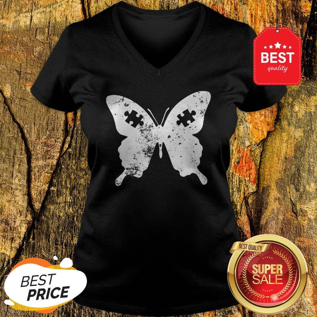 Butterflies Autism Awareness Puzzle Pieces Gift Ideas Mom V-Neck