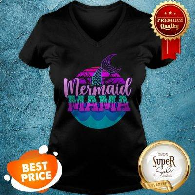 Official Mom Birthday Party Outfit Mommy Girl Mermaid Mama V-Neck