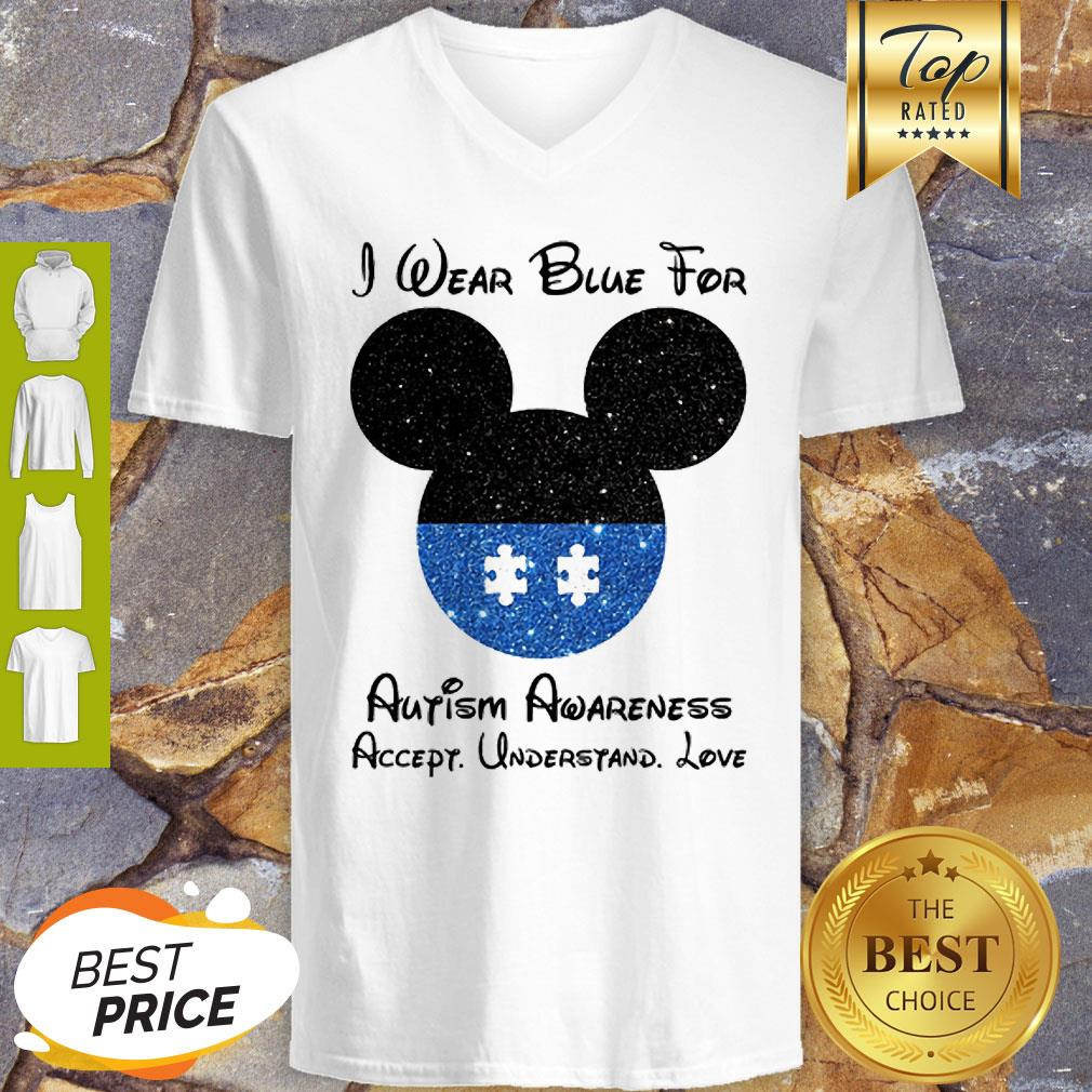 Mickey I Wear Blue For Autism Awareness Accept Understand Love V-Neck