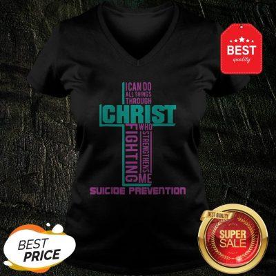 Christ Fighting Suicide Prevention Warrior Awareness V-Neck