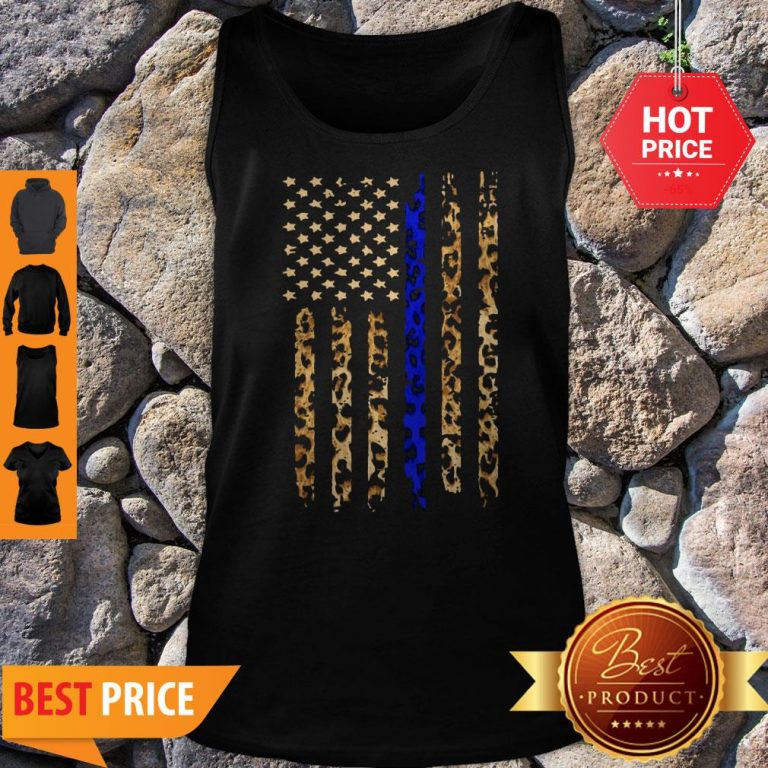 Official Thin Blue Line Mashup Leopard Tank Top
