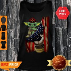 Official American Flag Baby Yoda Tattoo Firefighters Tank Top