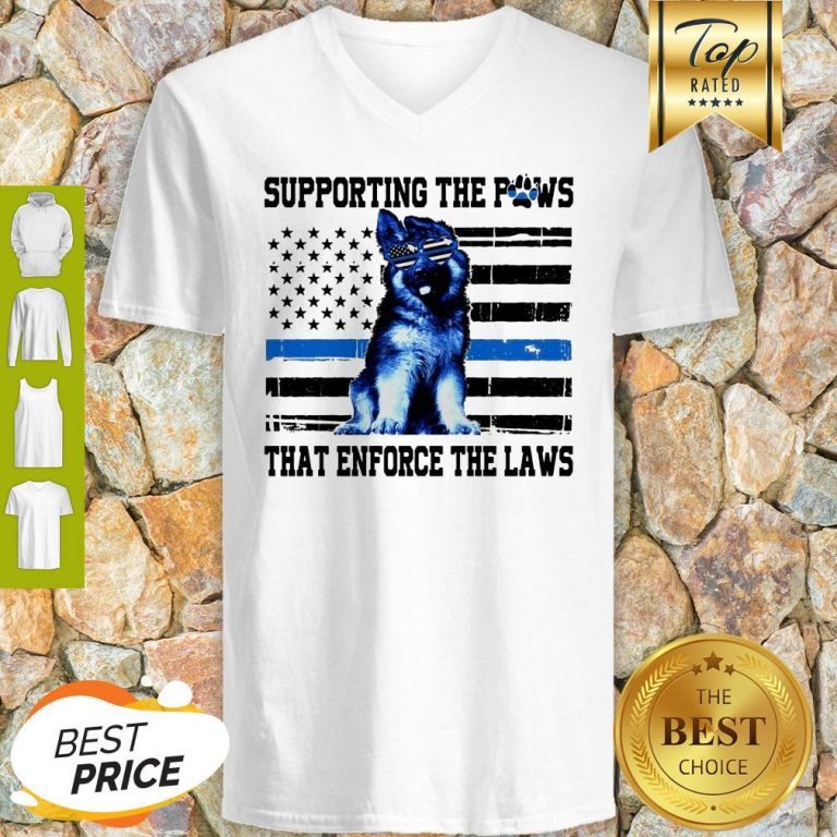 Alaska Thin Blue Line Supporting The Paws That Enforce The Laws V-Neck