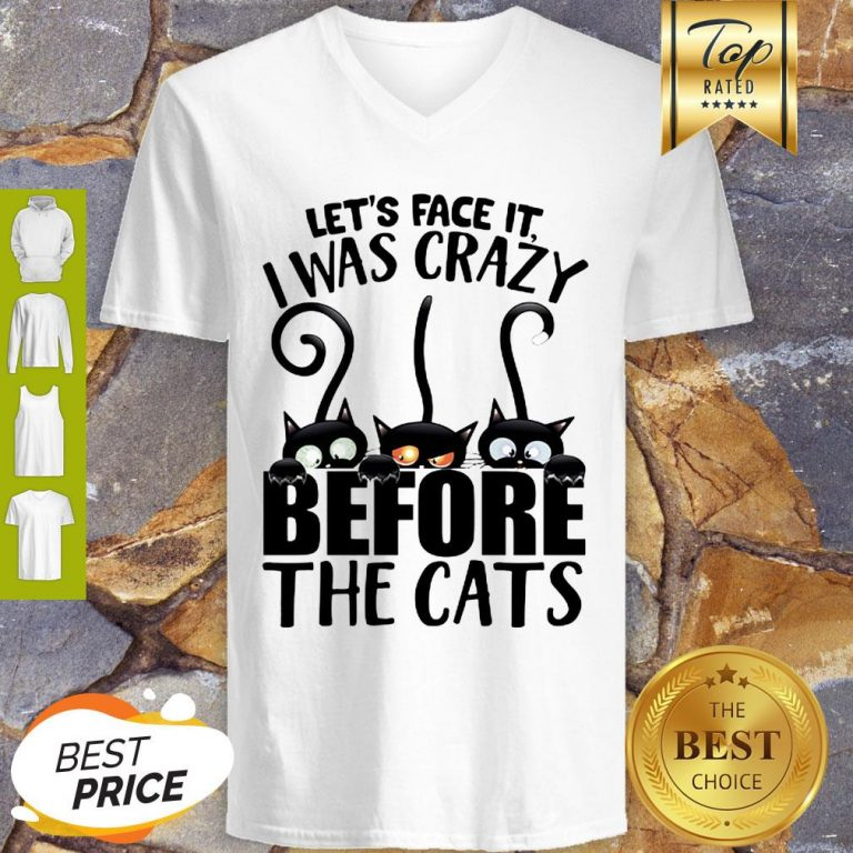 Black Cat Let's Face It I Was Crazy Before The Cats V-Neck