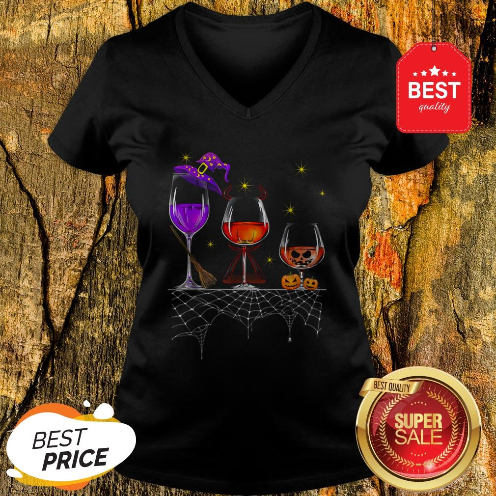 Funny Wine Glass Of Witchcraft Halloween Vintage V-Neck