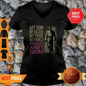 My Son My Soldier Hero – Proud Army Mom Military Mother Gift V-Neck