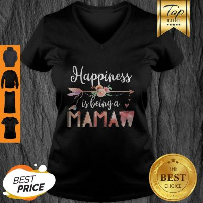 Happiness Is Being A Mamaw Floral Mother's Day Grandma V-Neck