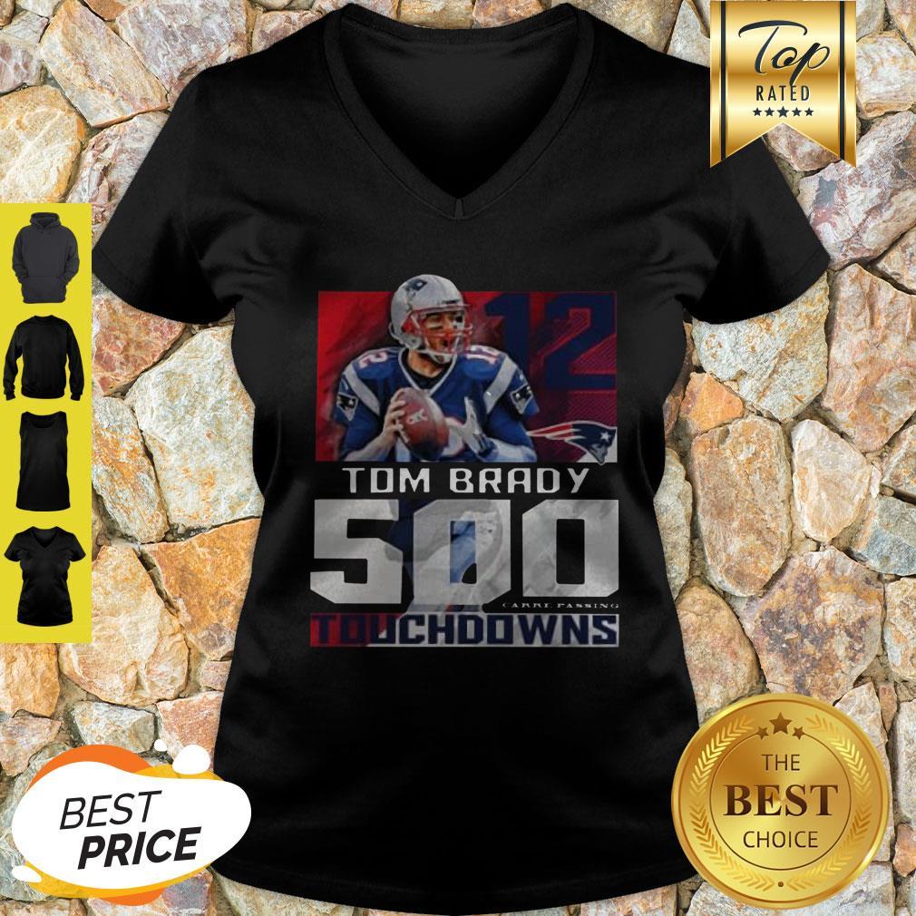 12 Tom Brady New England Patriots 500 Career Passing Touchdowns V-Neck