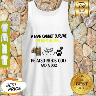 A Man Cannot Survive On Beer Alone He Also Needs Cycling And A Dog Paw Tank Top